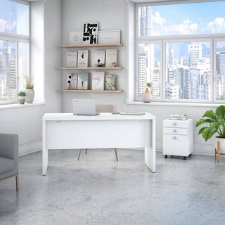 Echo Credenza Desk with Mobile File Cabinet from Office by kathy ireland®