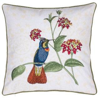 The Gray Barn Fox Run White Cotton Embroidered Tiki Bird 18-inch Throw Pillow