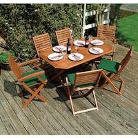 Plumley English Garden 7-Piece Wood Outdoor Folding Dining set