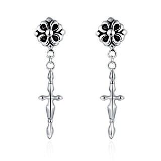 Hakbaho Jewelry Stainless Steel Cross Shape Dangling Earrings