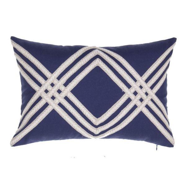 Lilli Blue Cotton/Linen 14-inch x 20-inch Lumbar Pillow