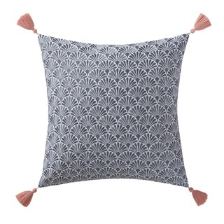 Oceanfront Resort Indienne Cotton 18-inch Paisley Square Embroidered Scallop Decorative Pillow