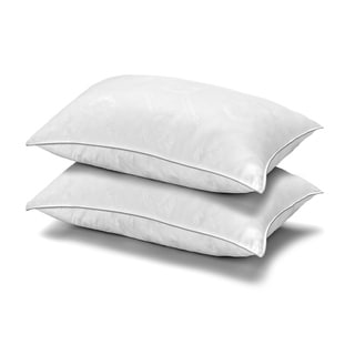 MicronOne Deluxe Allergen Free Gel Fiber Filled Soft Pillow (Set of 2) - Best for Stomach Sleepers - Silver/White