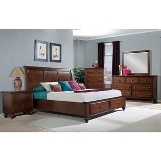 Cambridge Newport Storage Five Piece Bedroom Suite: Queen Bed, Dresser, Mirror, Chest, Nightstand
