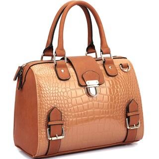 Dasein Structured Zip Top Closure Satchel Handbag