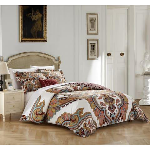 Chic Home 4-piece Sanskrit Beige Cotton Reversible Duvet Cover Set