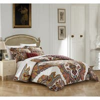 Chic Home 4-piece Sanskrit Beige Cotton Reversible Duvet Cover Set