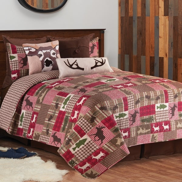 Linden Printed Patchwork Style Cotton Quilt Set