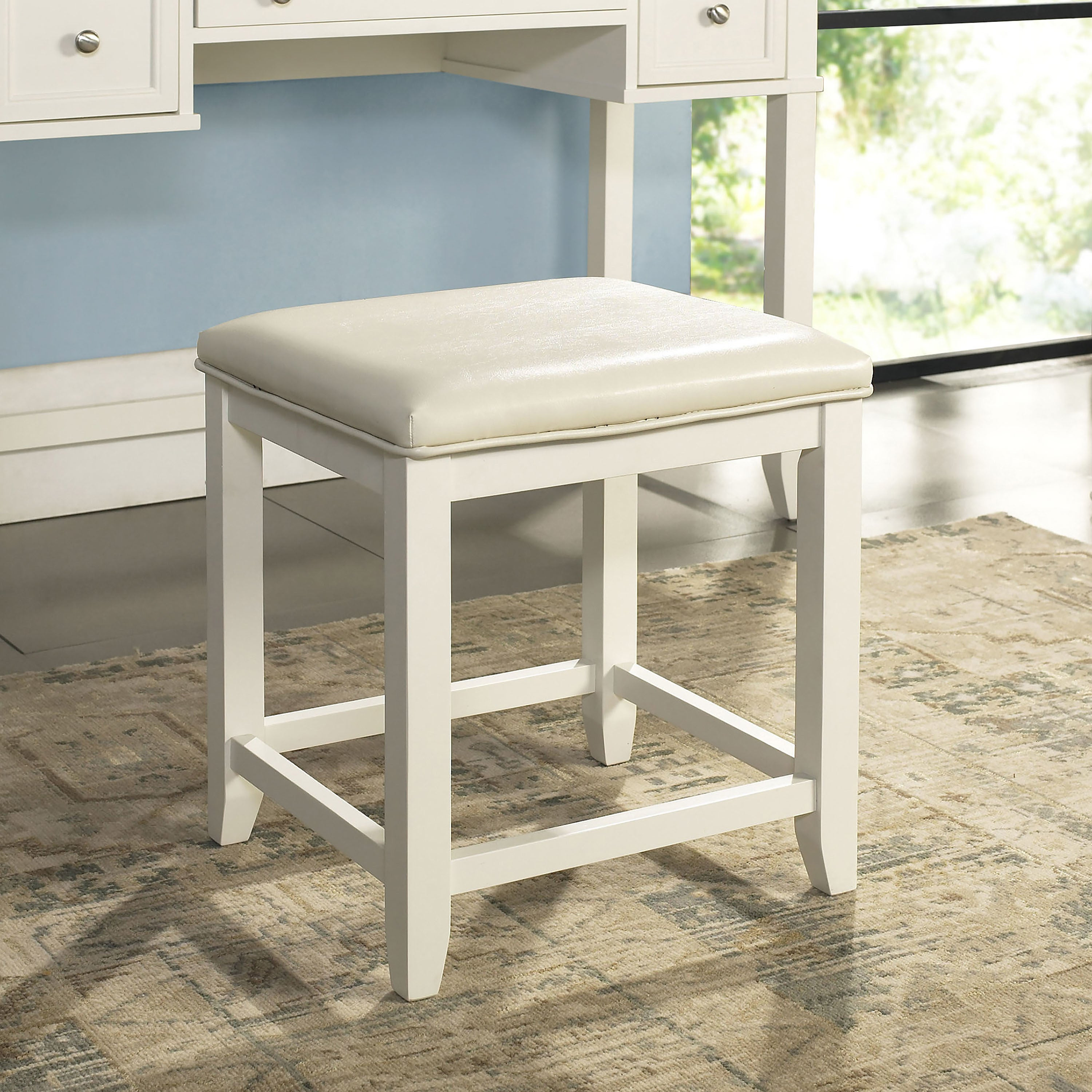 Excellent Vista Vanity Stool In White Alphanode Cool Chair Designs And Ideas Alphanodeonline