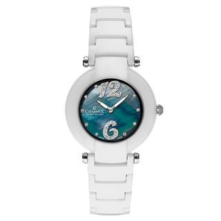 Charmex Women's 'Dynasty' Ceramic Black Mother-of-Pearl Dial Swiss Quartz Watch