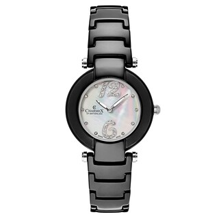 Charmex Women's 'Dynasty' Ceramic White Mother-of-Pearl Dial Swiss Quartz Watch