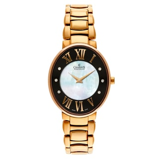 Charmex Women's 'Montreux' Gold Plated White Mother-of-Pearl and Black Dial Swiss Quartz Watch