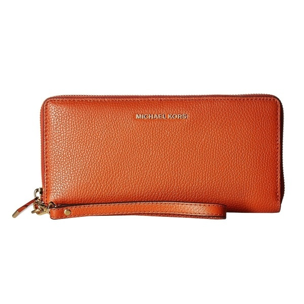 10ab2c6a21df Shop Michael Kors Mercer Orange Leather Travel Continental Wristlet ...