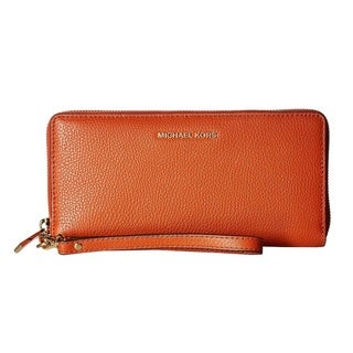 Michael Kors Mercer Orange Leather Travel Continental Wristlet Wallet