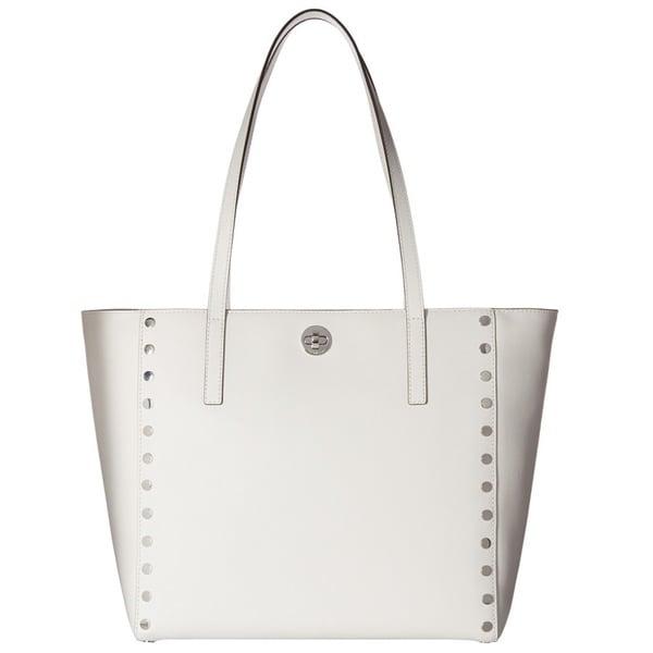 d1ade2bc3ace4 Shop Michael Kors Rivington Stud Optic White Large Tote Bag - Free ...