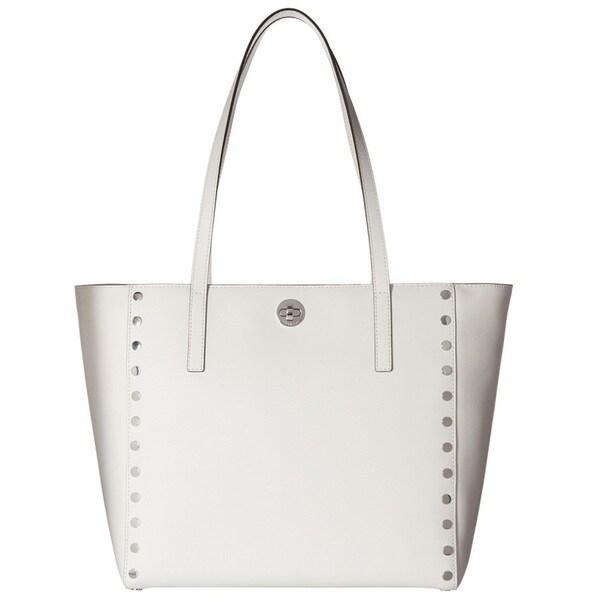 4a311be3de48 Shop Michael Kors Rivington Stud Optic White Large Tote Bag - Free ...