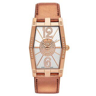 Charmex Women's 'Nizza' Leather White Dial Swiss Quartz Watch