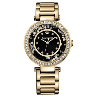 Juicy Couture Women's 'Cali' Gold Plated Black Dial Japanese Quartz Watch