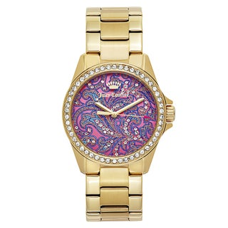Juicy Couture Women's 'Laguna' Gold Plated Pink Dial Japanese Quartz Watch