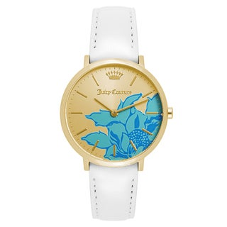 Juicy Couture Women's 'La Ultra Slim' Leather Blue and Gold Dial Japanese Quartz Watch