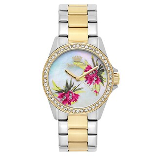 Juicy Couture Women's 'Laguna' Two Tone White Mother-of-Pearl Dial Japanese Quartz Watch