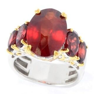 Michael Valitutti Palladium Silver Tanzanian Hessonite & Almandine Garnet Five-Stone Ring