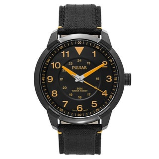 Pulsar Men's 'Easy Style' Fabric Black Dial Japanese Quartz Watch
