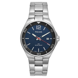 Pulsar Men's 'Easy Style' Stainless Steel Blue Dial Japanese Quartz Watch