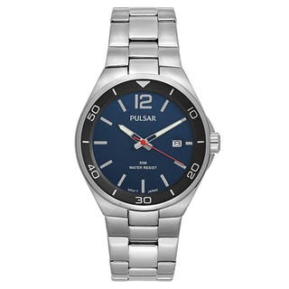 Pulsar Men's 'Easy Style' Stainless Steel Blue Dial Japanese Quartz Watch|https://ak1.ostkcdn.com/images/products/16004249/P22397465.jpg?impolicy=medium