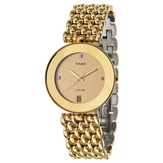 Rado Men's 'Florence' Gold Plated Gold Dial Swiss Quartz Watch