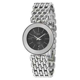 Rado Men's 'Florence' Stainless Steel Black Dial Swiss Quartz Watch