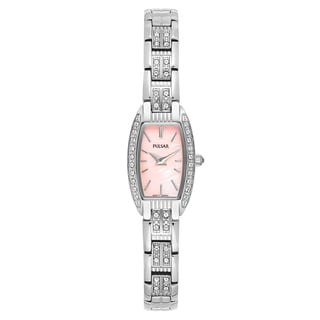 Pulsar Women's 'Crystal' Stainless Steel Pink Mother-of-Pearl Dial Japanese Quartz Watch