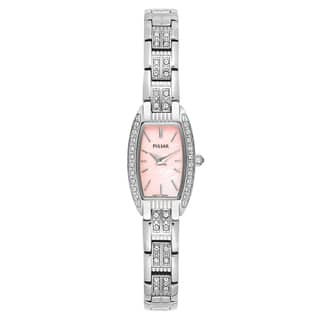 Pulsar Women's 'Crystal' Stainless Steel Pink Mother-of-Pearl Dial Japanese Quartz Watch|https://ak1.ostkcdn.com/images/products/16004254/P22397502.jpg?impolicy=medium
