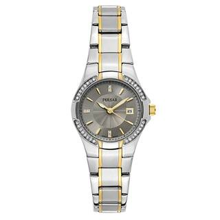 Pulsar Women's 'Night Out' Two Tone Gray Dial Japanese Quartz Watch|https://ak1.ostkcdn.com/images/products/16004255/P22397503.jpg?impolicy=medium