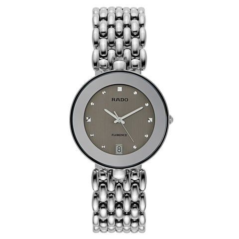 Rado Men's 'Florence' Stainless Steel Silver Dial Swiss Quartz Watch