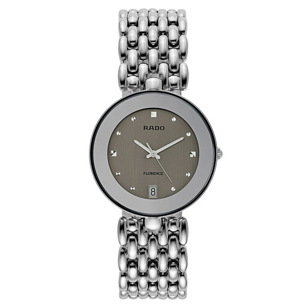 Rado Men's 'Florence' Stainless Steel Silver Dial Swiss Quartz Watch
