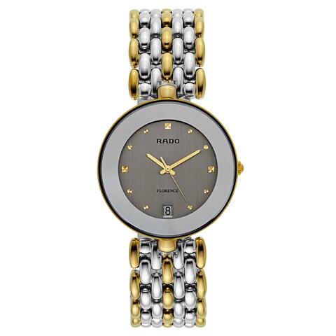 Rado Men's 'Florence' Two Tone Silver Dial Swiss Quartz Watch