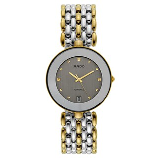Rado Men's 'Florence' Two Tone Silver Dial Swiss Quartz Watch