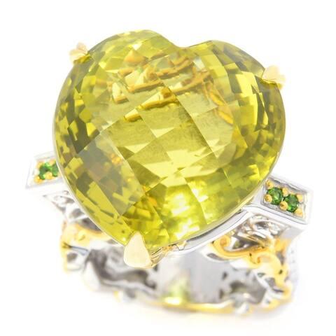 Gems en Vogue Palladium Silver Ouro Verde & Chrome Diopside Heart Ring