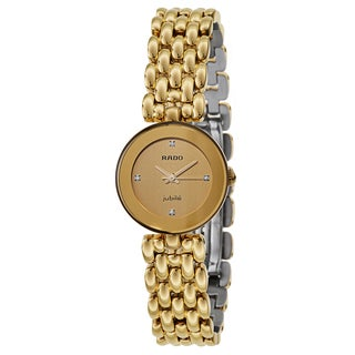 Rado Women's 'Florence' Gold Plated Gold Dial Swiss Quartz Watch