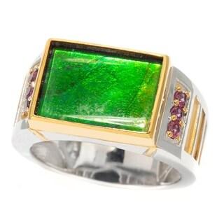 Michael Valitutti Palladium Silver Ammolite & Rhodolite Garnet Men's Band Ring