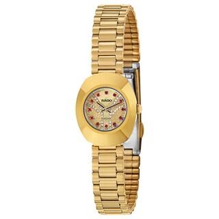 Rado Women's 'Original' Gold Plated Gold Dial Swiss Quartz Watch|https://ak1.ostkcdn.com/images/products/16004281/P22397500.jpg?_ostk_perf_=percv&impolicy=medium