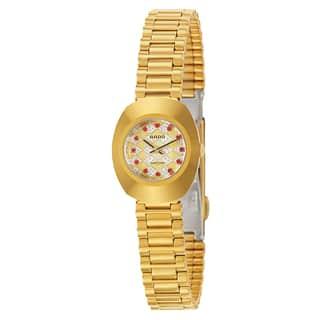 Rado Women's 'Original' Gold Plated Gold Dial Swiss Quartz Watch|https://ak1.ostkcdn.com/images/products/16004282/P22397517.jpg?impolicy=medium