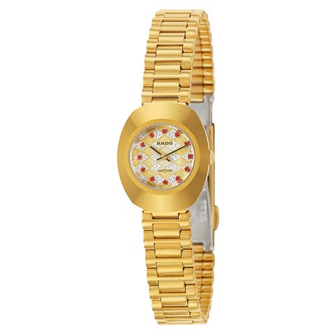 Rado Women's 'Original' Gold Plated Gold Dial Swiss Quartz Watch