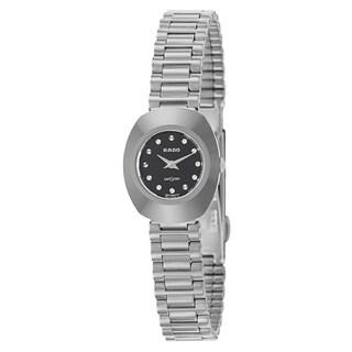 Rado Women's 'Original' Stainless Steel Black Dial Swiss Quartz Watch