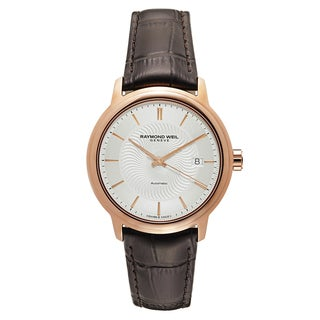 Raymond Weil Men's 'Maestro' Leather Silver Dial Swiss Mechanical Automatic (Self-Winding) Watch