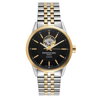 Raymond Weil Men's 'Freelancer' Stainless Steel Black Dial Swiss Mechanical Automatic (Self-Winding) Watch|https://ak1.ostkcdn.com/images/products/16004303/P22397546.jpg?impolicy=medium