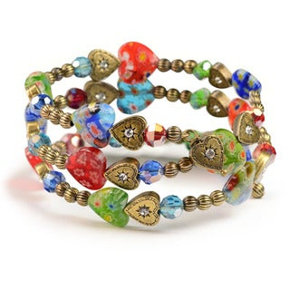 Sweet Romance Millefiori Glass Rainbow Heart Wrap Bracelet
