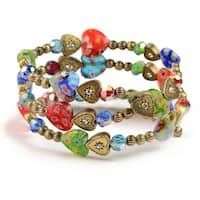 Sweet Romance Millefiori Glass Rainbow Heart Wrap Bracelet