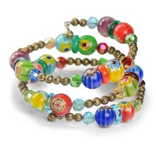 Sweet Romance Retro Millefiori Glass Rainbow Bead Wrap Bracelet